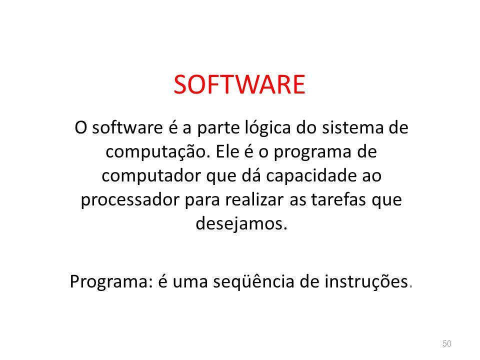 SOFTWARE O software é a parte lógica do sistema de computação.