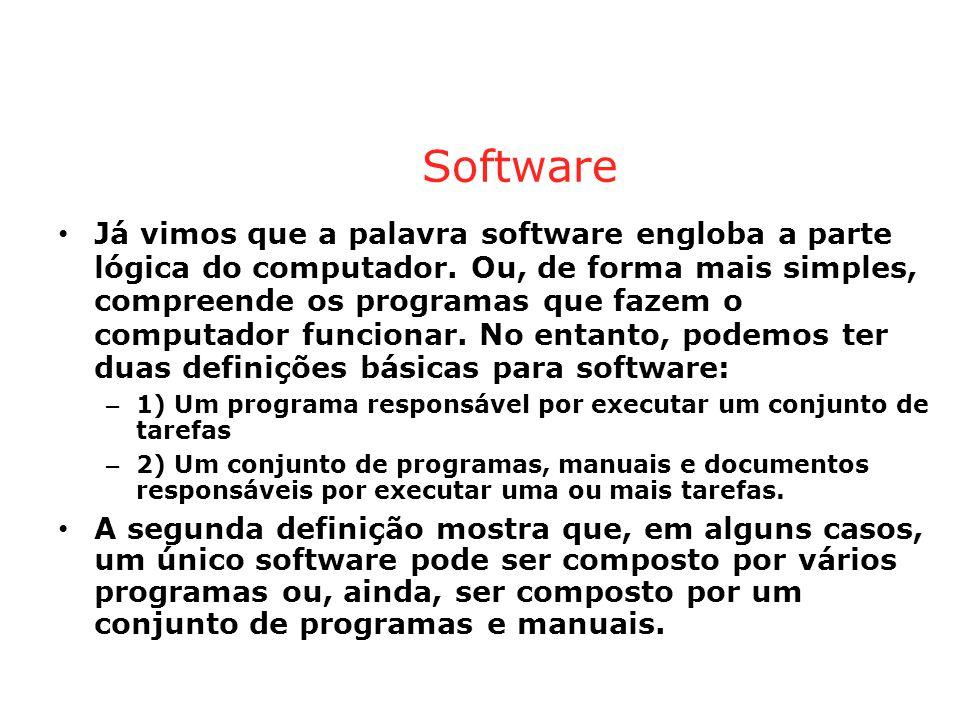 Software • Já vimos que a palavra software engloba a parte lógica do computador.