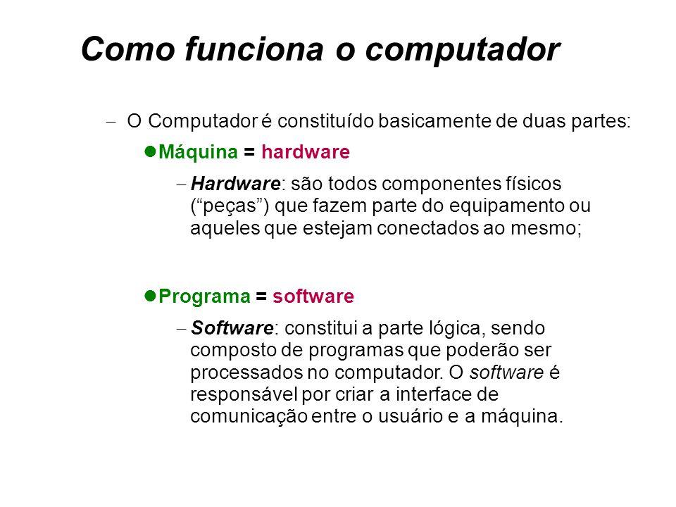 Como funciona o computador  Programa = software  Software: constitui a parte lógica, sendo composto de programas que poderão ser processados no computador.