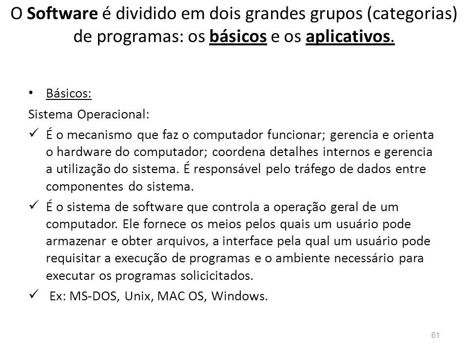 O Software é dividido em dois grandes grupos (categorias) de programas: os básicos e os aplicativos.