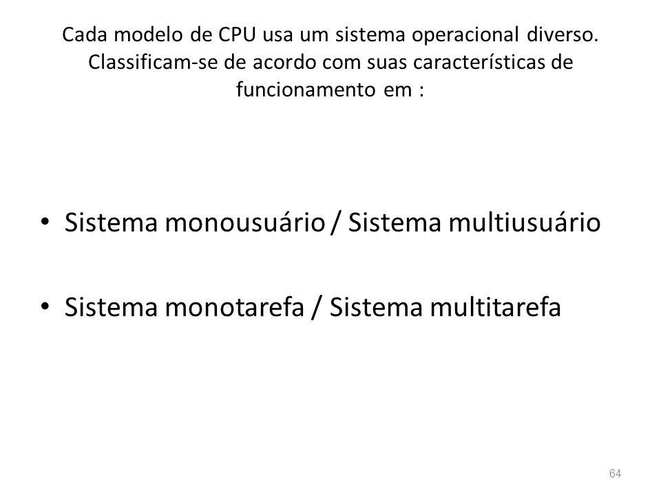 Cada modelo de CPU usa um sistema operacional diverso.