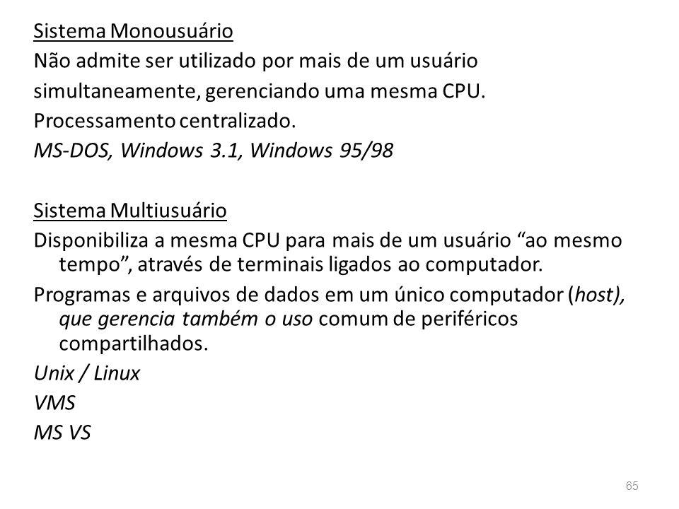 Sistema Monousuário Não admite ser utilizado por mais de um usuário simultaneamente, gerenciando uma mesma CPU.