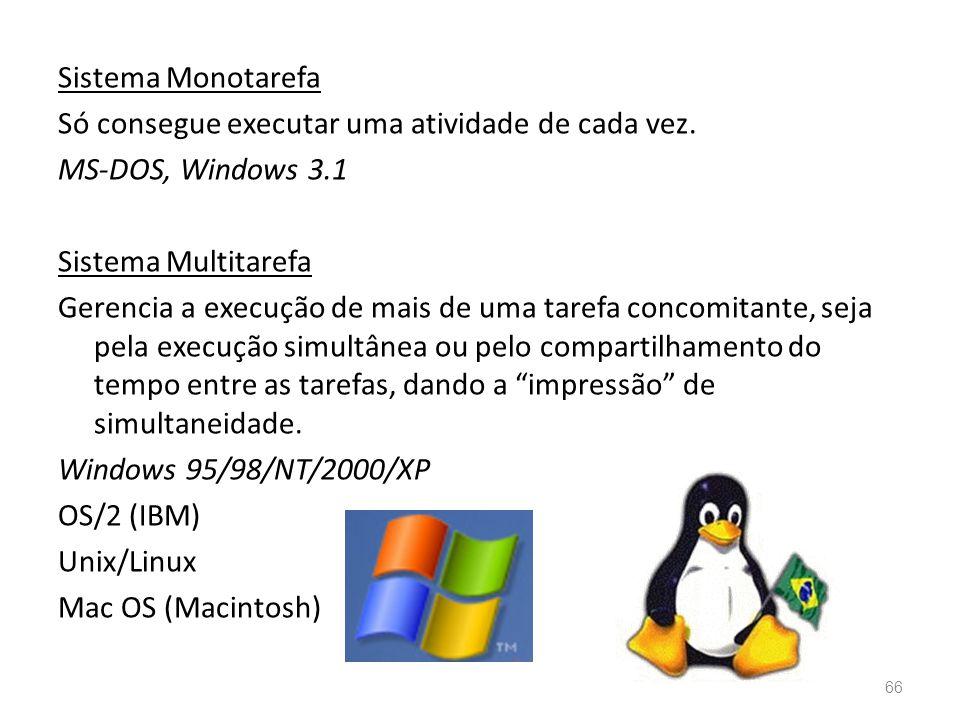 Sistema Monotarefa Só consegue executar uma atividade de cada vez.