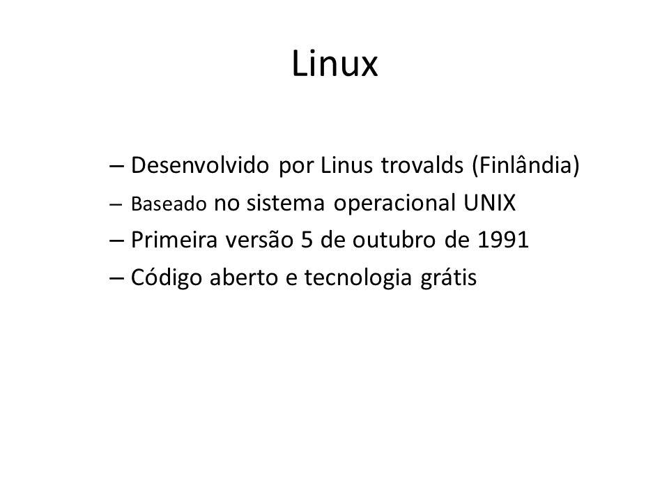 Linux – Desenvolvido por Linus trovalds (Finlândia) – Baseado no sistema operacional UNIX – Primeira versão 5 de outubro de 1991 – Código aberto e tecnologia grátis