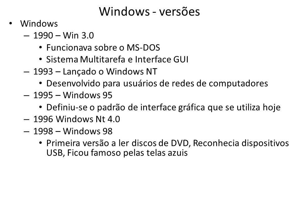 Windows - versões • Windows – 1990 – Win 3.0 • Funcionava sobre o MS-DOS • Sistema Multitarefa e Interface GUI – 1993 – Lançado o Windows NT • Desenvolvido para usuários de redes de computadores – 1995 – Windows 95 • Definiu-se o padrão de interface gráfica que se utiliza hoje – 1996 Windows Nt 4.0 – 1998 – Windows 98 • Primeira versão a ler discos de DVD, Reconhecia dispositivos USB, Ficou famoso pelas telas azuis