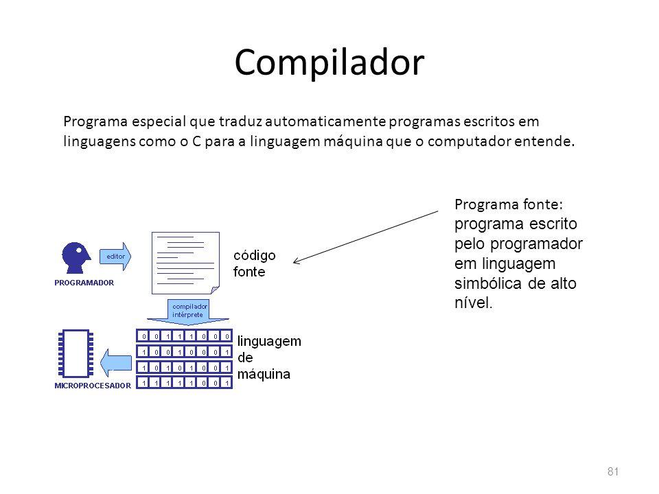 Compilador 81 Programa especial que traduz automaticamente programas escritos em linguagens como o C para a linguagem máquina que o computador entende.