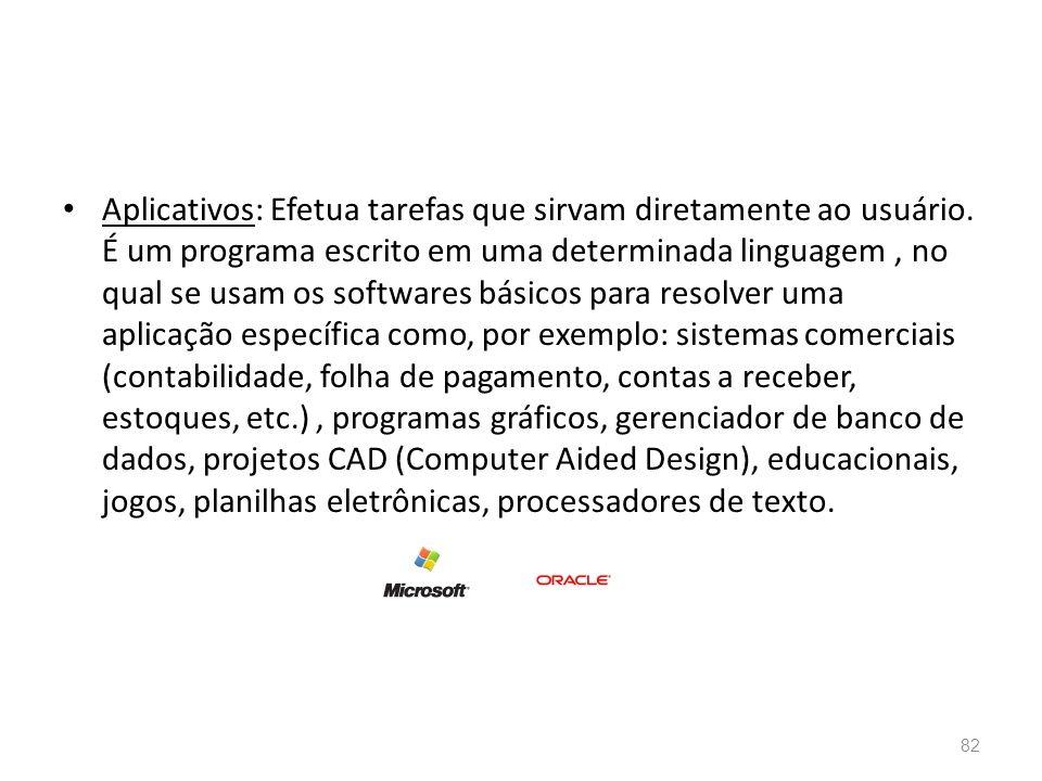 • Aplicativos: Efetua tarefas que sirvam diretamente ao usuário.