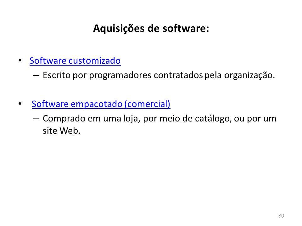 Aquisições de software: • Software customizado Software customizado – Escrito por programadores contratados pela organização.