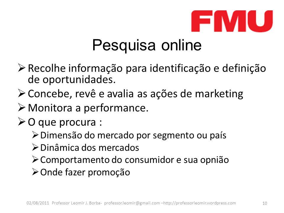Pesquisa online  Recolhe informação para identificação e definição de oportunidades.  Concebe, revê e avalia as ações de marketing  Monitora a perf