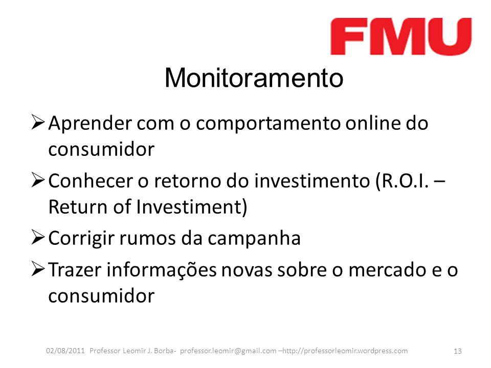Monitoramento  Aprender com o comportamento online do consumidor  Conhecer o retorno do investimento (R.O.I. – Return of Investiment)  Corrigir rum