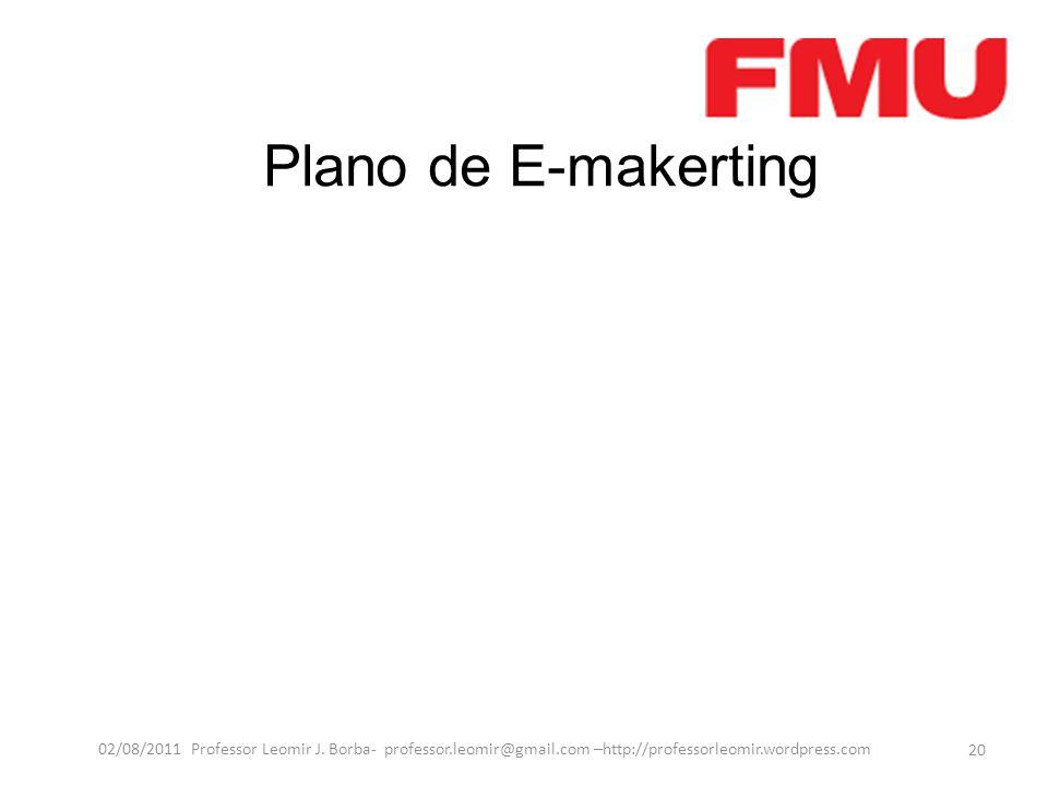 Plano de E-makerting 20 02/08/2011 Professor Leomir J. Borba- professor.leomir@gmail.com –http://professorleomir.wordpress.com