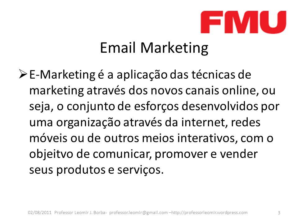 Email Marketing  E-Marketing é a aplicação das técnicas de marketing através dos novos canais online, ou seja, o conjunto de esforços desenvolvidos p