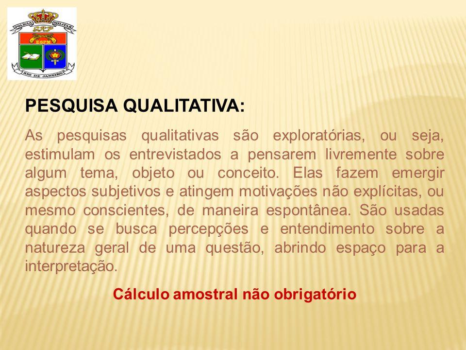PESQUISA QUALITATIVA: As pesquisas qualitativas são exploratórias, ou seja, estimulam os entrevistados a pensarem livremente sobre algum tema, objeto