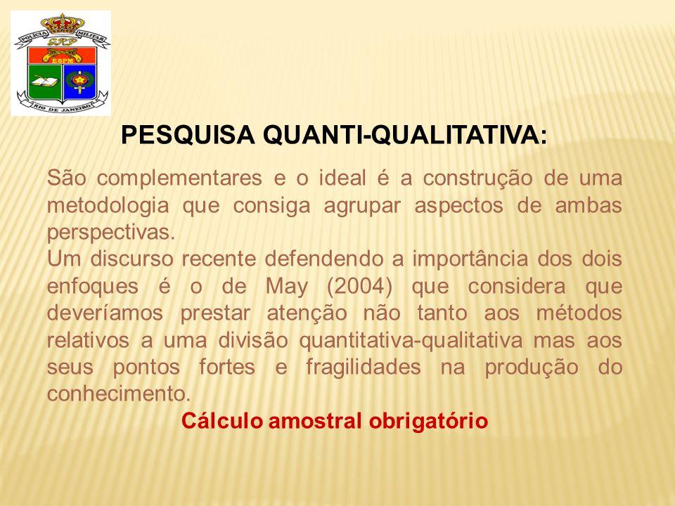 PESQUISA QUANTI-QUALITATIVA: São complementares e o ideal é a construção de uma metodologia que consiga agrupar aspectos de ambas perspectivas. Um dis