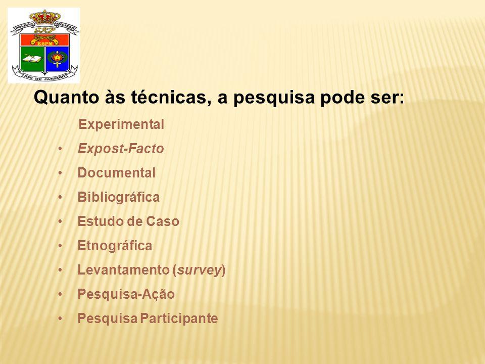 Quanto às técnicas, a pesquisa pode ser: • Experimental • Expost-Facto • Documental • Bibliográfica • Estudo de Caso • Etnográfica • Levantamento (survey) • Pesquisa-Ação • Pesquisa Participante