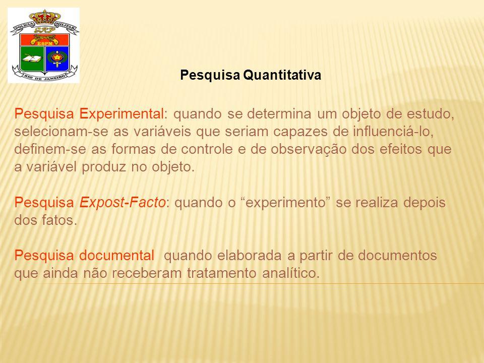 Pesquisa Quantitativa Pesquisa Experimental: quando se determina um objeto de estudo, selecionam-se as variáveis que seriam capazes de influenciá-lo, definem-se as formas de controle e de observação dos efeitos que a variável produz no objeto.