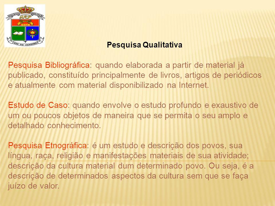 Pesquisa Qualitativa Pesquisa Bibliográfica: quando elaborada a partir de material já publicado, constituído principalmente de livros, artigos de periódicos e atualmente com material disponibilizado na Internet.