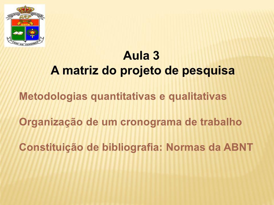 Aula 3 A matriz do projeto de pesquisa Metodologias quantitativas e qualitativas Organização de um cronograma de trabalho Constituição de bibliografia: Normas da ABNT
