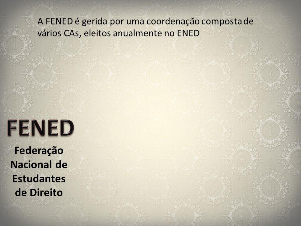 Federação Nacional de Estudantes de Direito A FENED é gerida por uma coordenação composta de vários CAs, eleitos anualmente no ENED