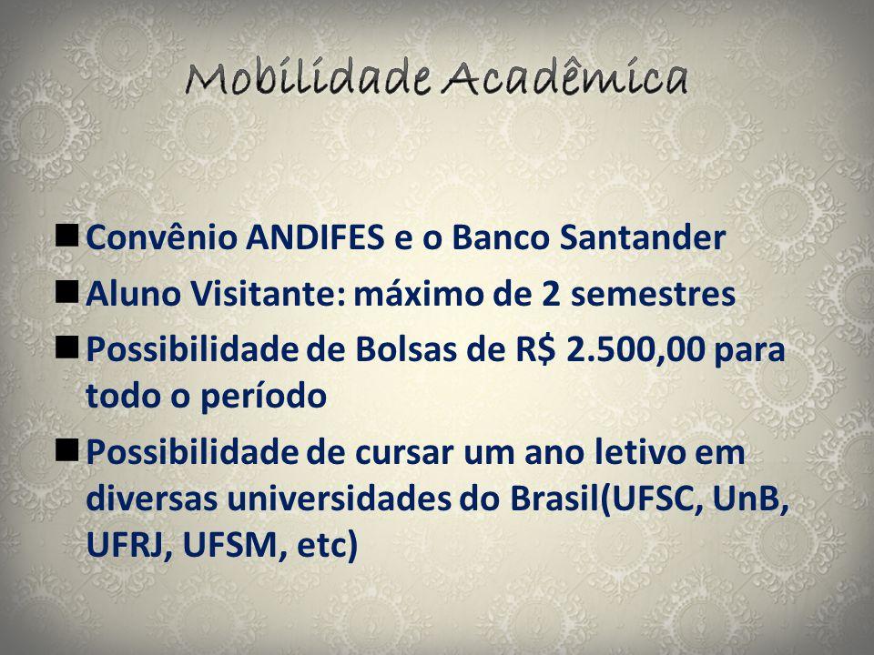  Convênio ANDIFES e o Banco Santander  Aluno Visitante: máximo de 2 semestres  Possibilidade de Bolsas de R$ 2.500,00 para todo o período  Possibi