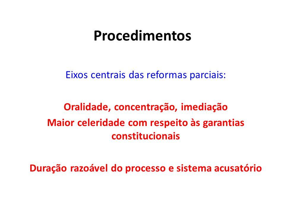Procedimentos Eixos centrais das reformas parciais: Oralidade, concentração, imediação Maior celeridade com respeito às garantias constitucionais Dura