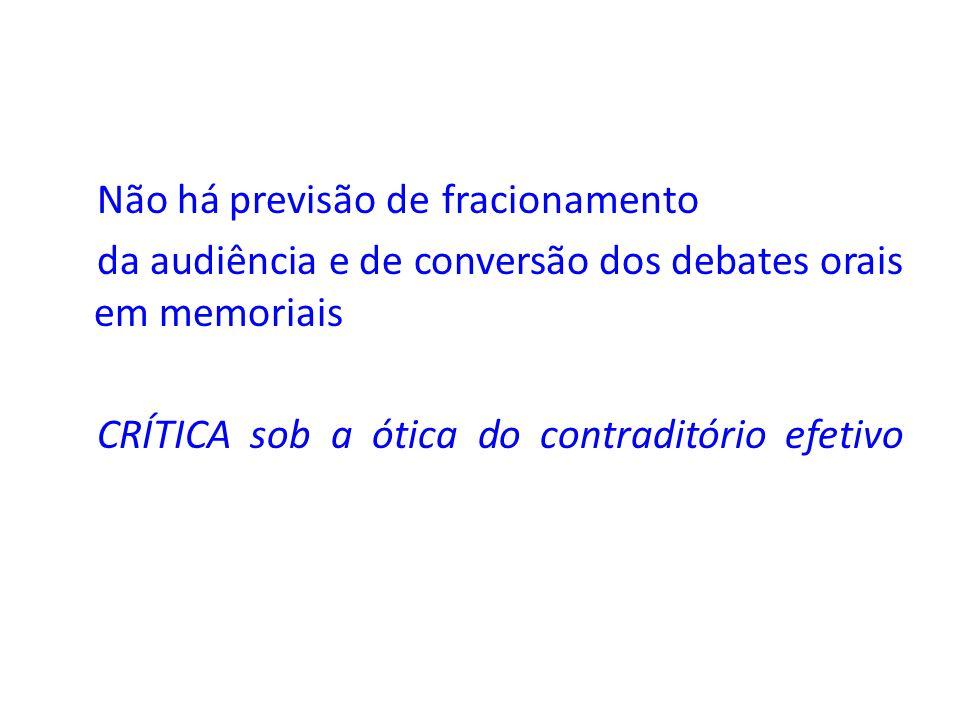 Não há previsão defracionamento da audiência e de conversão dos debates orais em memoriais CRÍTICAsob a ótica do contraditório efetivo