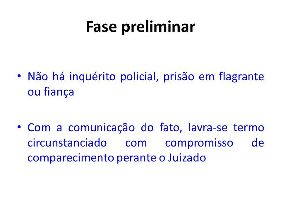 Fase preliminar • Não há inquérito policial, prisão em flagrante ou fiança • Com a comunicação do fato, lavra-se termo circunstanciado com compromisso