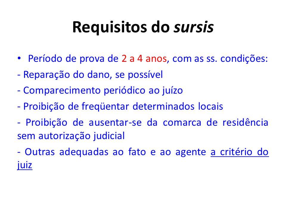 Requisitos do sursis • Período de prova de 2 a 4 anos, com as ss. condições: - Reparação do dano, se possível - Comparecimento periódico ao juízo - Pr