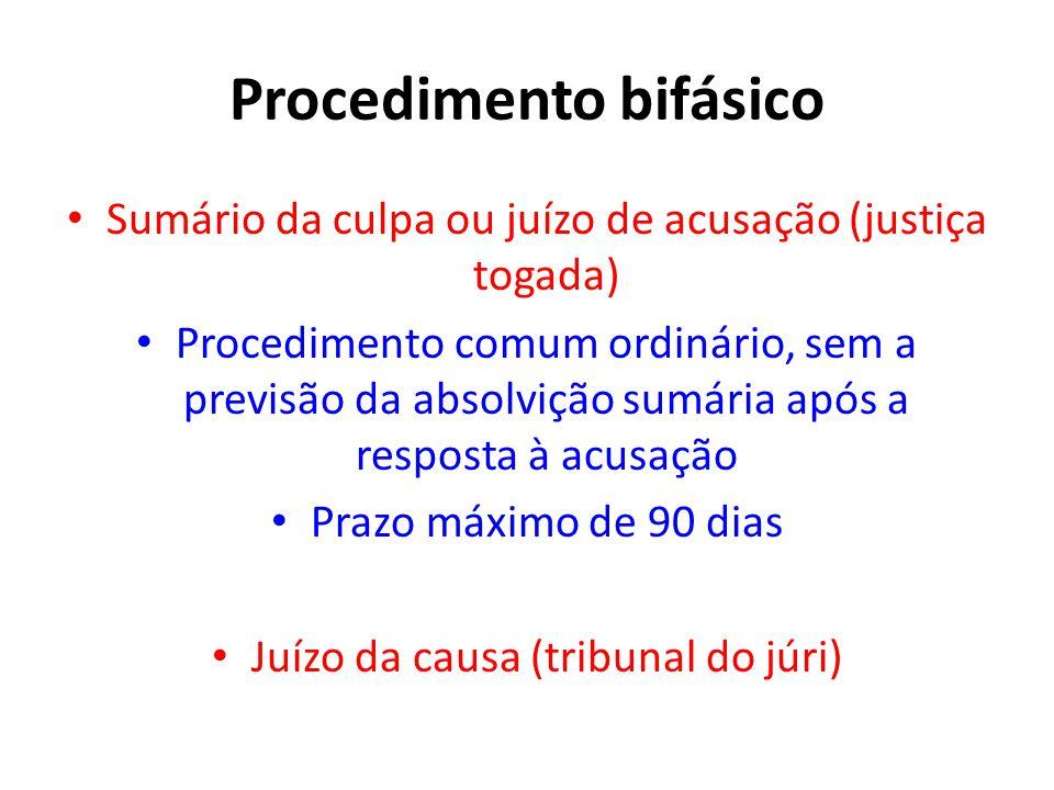 Procedimento bifásico • Sumário da culpa ou juízo de acusação (justiça togada) • Procedimento comum ordinário, sem a previsão da absolvição sumária ap