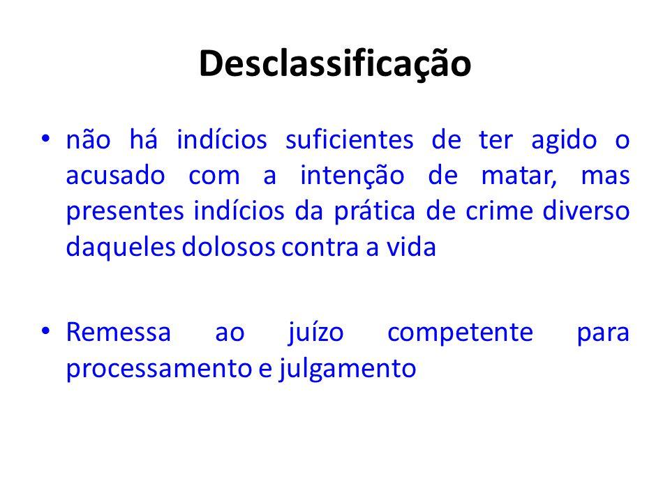 Desclassificação • não há indícios suficientes de ter agido o acusado com a intenção de matar, mas presentes indícios da prática de crime diverso daqu