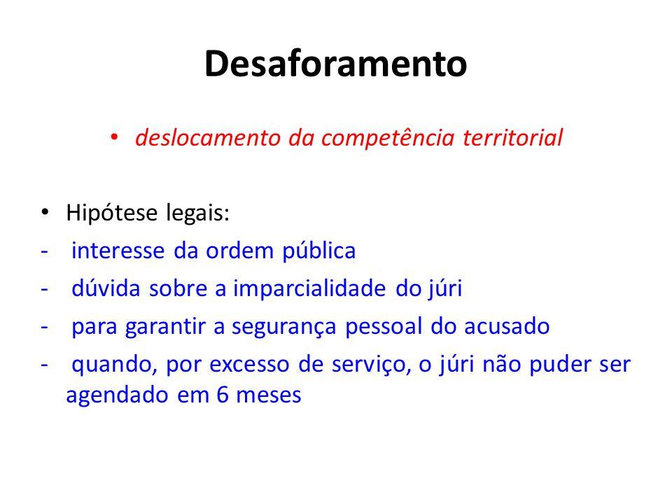 Desaforamento • deslocamento da competência territorial • Hipótese legais: - interesse da ordem pública - dúvida sobre a imparcialidade do júri - para