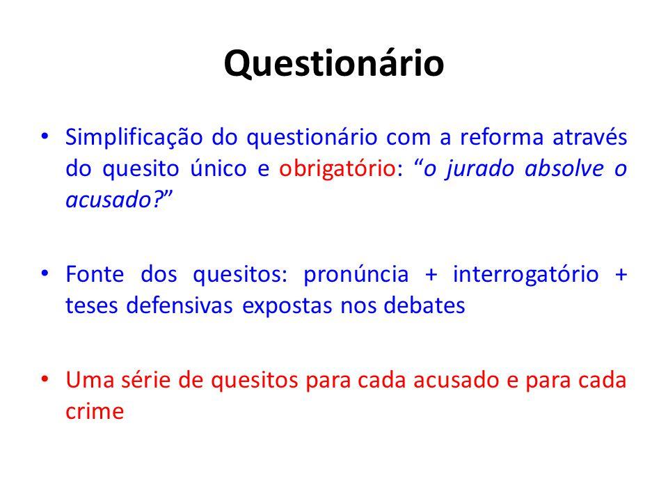 """Questionário • Simplificação do questionário com a reforma através do quesito único e obrigatório: """"o jurado absolve o acusado?"""" • Fonte dos quesitos:"""