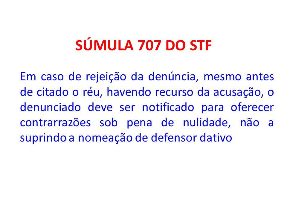 SÚMULA 707 DO STF Em caso de rejeição da denúncia, mesmo antes de citado o réu, havendo recurso da acusação, o denunciado deve ser notificado para ofe