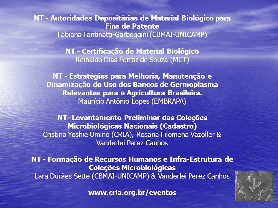NT - Autoridades Depositárias de Material Biológico para Fins de Patente Fabiana Fantinatti-Garboggini (CBMAI-UNICAMP) NT - Certificação de Material B
