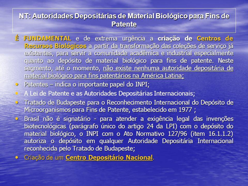 NT: Autoridades Depositárias de Material Biológico para Fins de Patente É FUNDAMENTAL e de extrema urgência a criação de Centros de Recursos Biológico