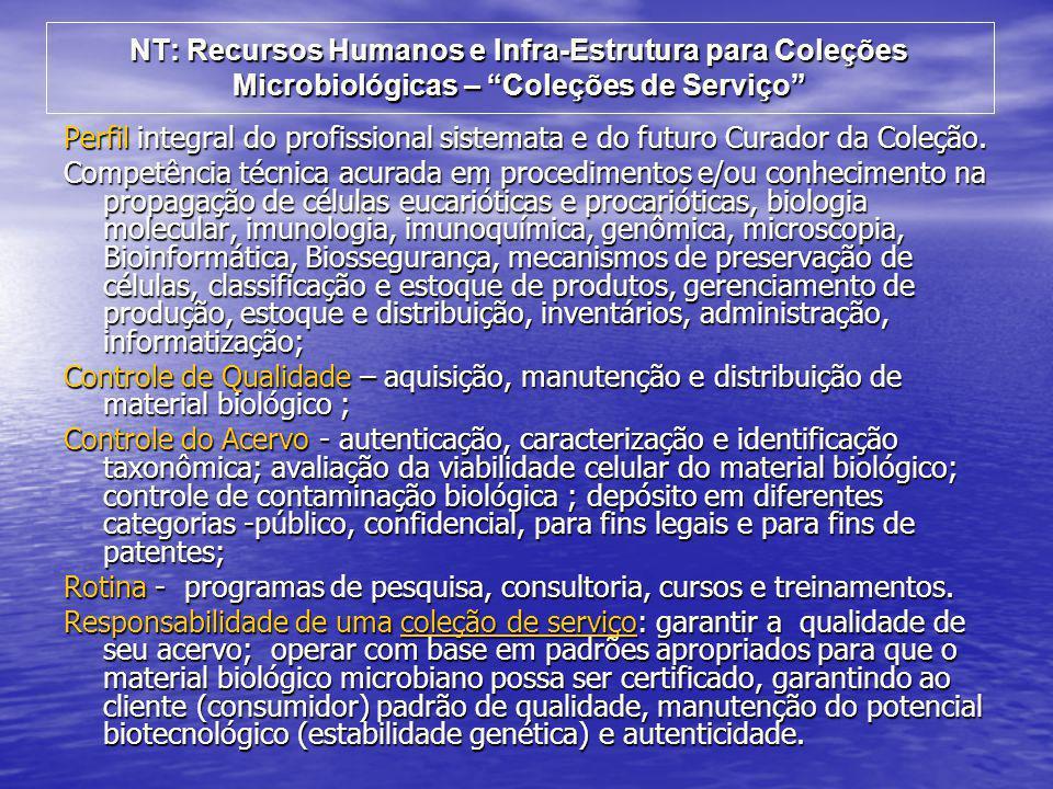 """NT: Recursos Humanos e Infra-Estrutura para Coleções Microbiológicas – """"Coleções de Serviço"""" Perfil integral do profissional sistemata e do futuro Cur"""