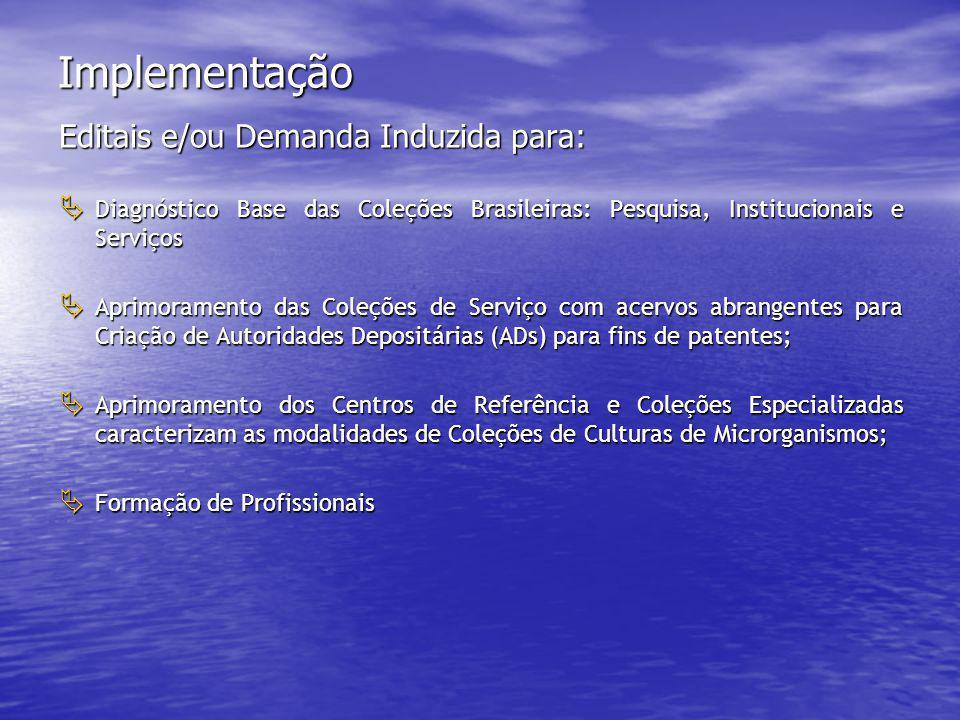 Implementação Editais e/ou Demanda Induzida para:  Diagnóstico Base das Coleções Brasileiras: Pesquisa, Institucionais e Serviços  Aprimoramento das