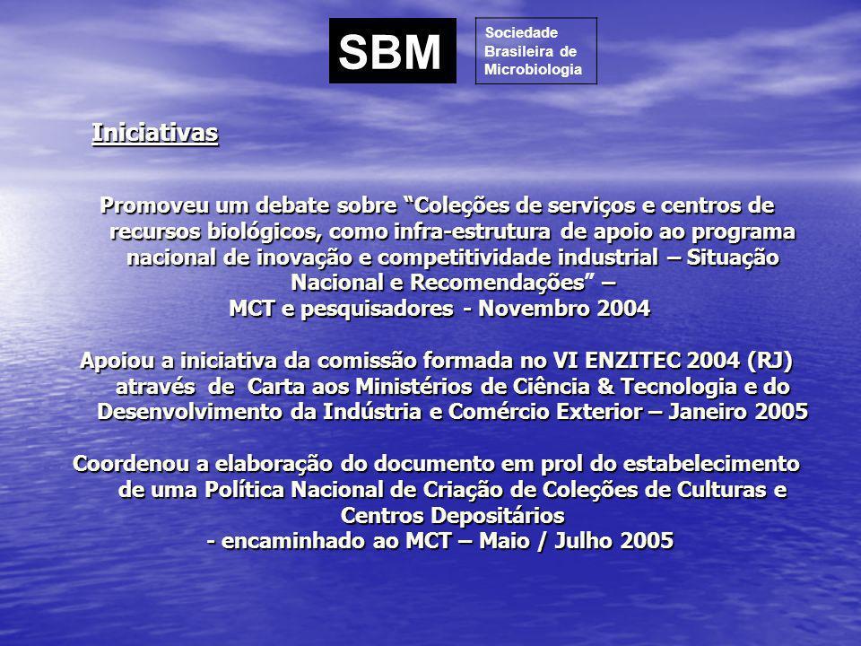 Participou nos fóruns de discussão do Conselho de Gestão do Patrimônio Genético do - MMA – 2004 e 2005 Em conjunto com a SBZ e SBB: redação do documento REDE VIRTUAL DE INFORMAÇÃO SOBRE A BIODIVERSIDADE BRASILEIRA ASSOCIADA A ACERVOS BIOLÓGICOS - PROPOSTA PARA OBTENÇÃO DE FINANCIAMENTO DO GLOBAL ENVIRONMENT FACILITY – GEF - DOCUMENTO DE AVALIAÇÃO – BANCO MUNDIAL - Proponente: Ministério da Ciência e Tecnologia – MCT; Secretaria de Políticas e Programas em Biodiversidade – SEPED; Agência Implementadora: Banco Mundial.