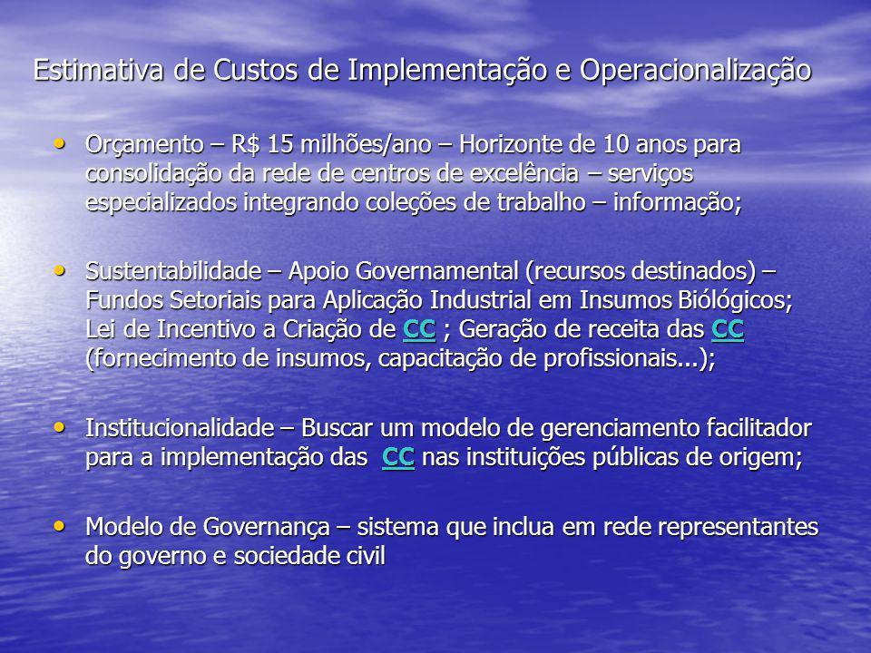 Estimativa de Custos de Implementação e Operacionalização • Orçamento – R$ 15 milhões/ano – Horizonte de 10 anos para consolidação da rede de centros