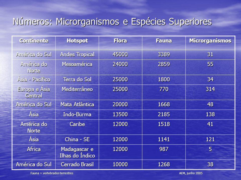 Números: Microrganismos e Espécies Superiores ContinenteHotspotFloraFaunaMicrorganismos América do Sul Andes Tropical 45000338931 América do Norte Mes