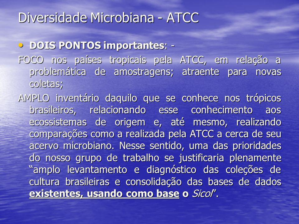 Diversidade Microbiana - ATCC • DOIS PONTOS importantes: - FOCO nos países tropicais pela ATCC, em relação a problemática de amostragens; atraente par