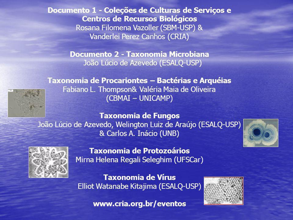 Documento 1 - Coleções de Culturas de Serviços e Centros de Recursos Biológicos Rosana Filomena Vazoller (SBM-USP) & Vanderlei Perez Canhos (CRIA) Doc