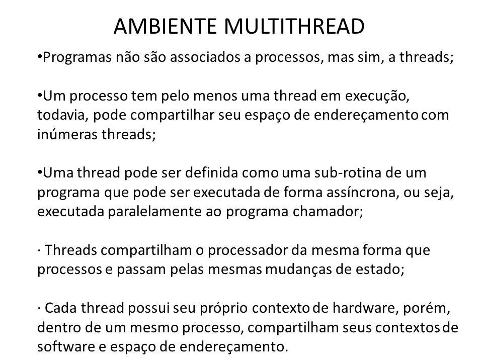 AMBIENTE MULTITHREAD • Programas não são associados a processos, mas sim, a threads; • Um processo tem pelo menos uma thread em execução, todavia, pod