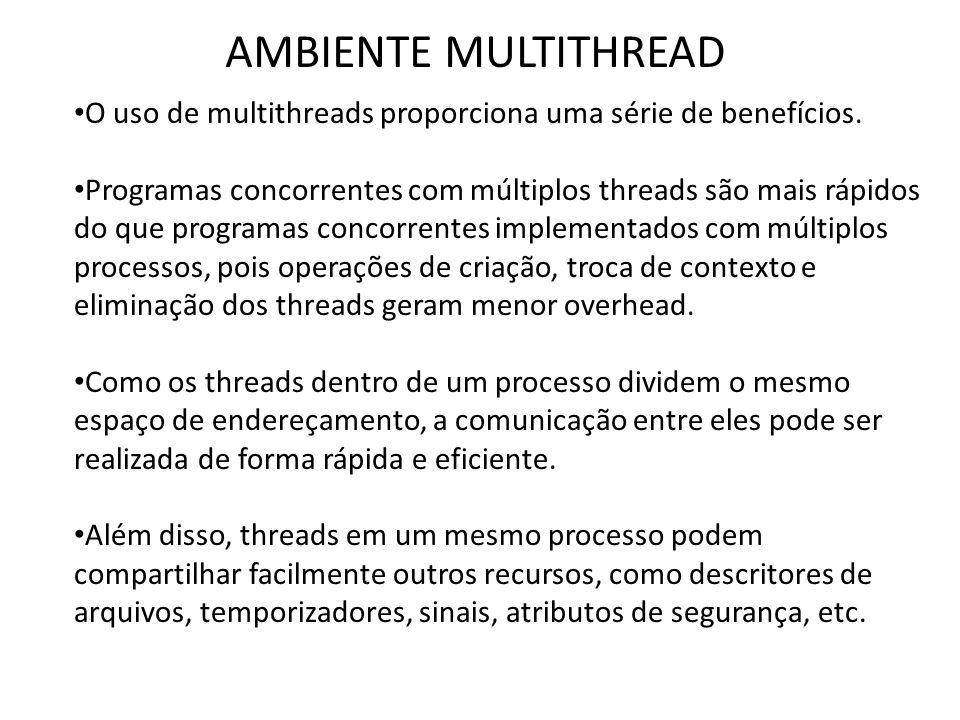 AMBIENTE MULTITHREAD • O uso de multithreads proporciona uma série de benefícios. • Programas concorrentes com múltiplos threads são mais rápidos do q