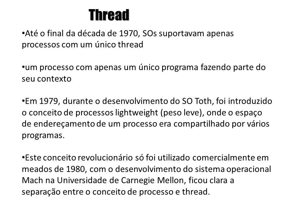 Thread • Até o final da década de 1970, SOs suportavam apenas processos com um único thread • um processo com apenas um único programa fazendo parte d