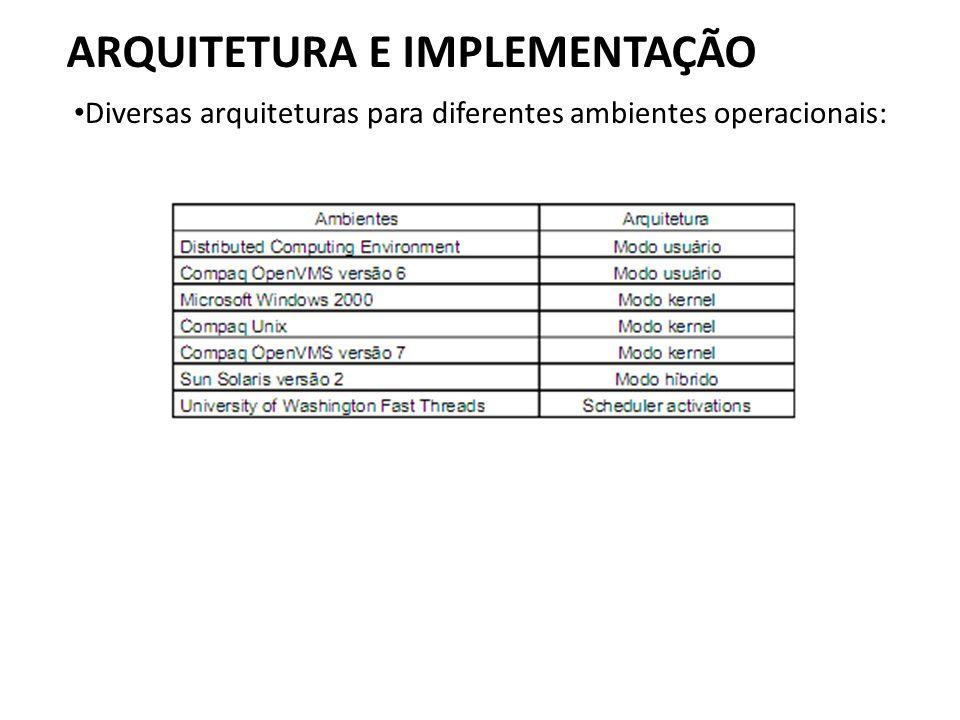 ARQUITETURA E IMPLEMENTAÇÃO • Diversas arquiteturas para diferentes ambientes operacionais:
