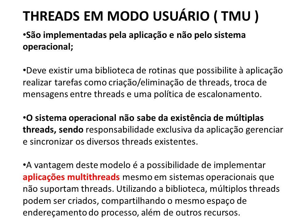 THREADS EM MODO USUÁRIO ( TMU ) • São implementadas pela aplicação e não pelo sistema operacional; • Deve existir uma biblioteca de rotinas que possib