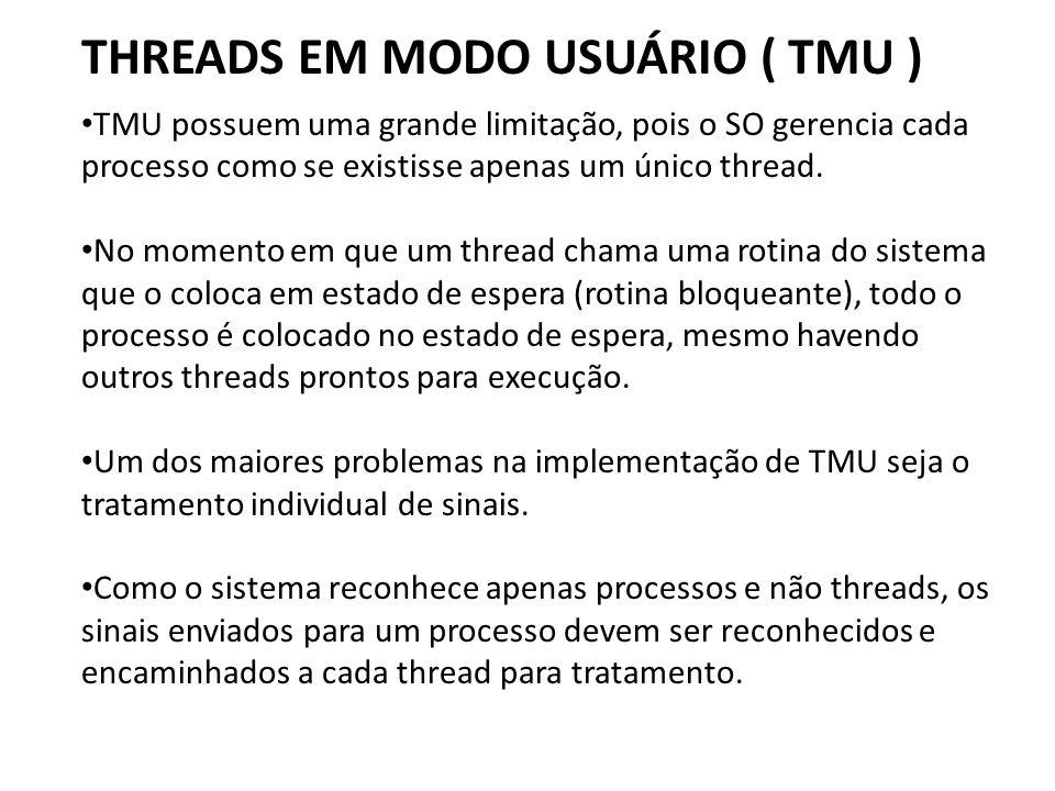 THREADS EM MODO USUÁRIO ( TMU ) • TMU possuem uma grande limitação, pois o SO gerencia cada processo como se existisse apenas um único thread. • No mo