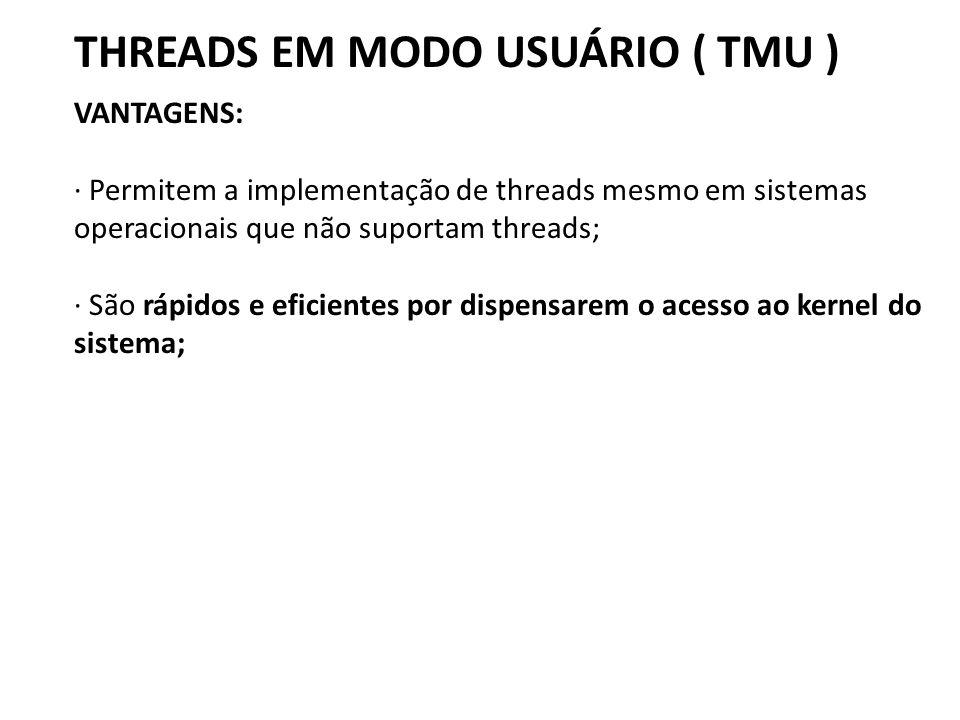 THREADS EM MODO USUÁRIO ( TMU ) VANTAGENS: · Permitem a implementação de threads mesmo em sistemas operacionais que não suportam threads; · São rápido