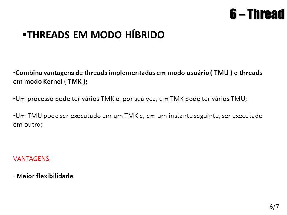 Arquitetura de Sistemas Operacionais – Machado/Maia 6 – Thread  THREADS EM MODO HÍBRIDO 6/7 • Combina vantagens de threads implementadas em modo usuá